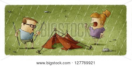 Illustration of couple of tourists trying to set a camping tent under rain