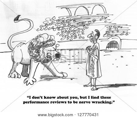 Business cartoon about a nerve wracking performance review.