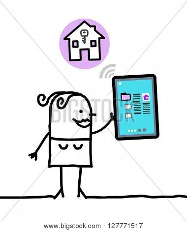 cartoon character with tablet - housing