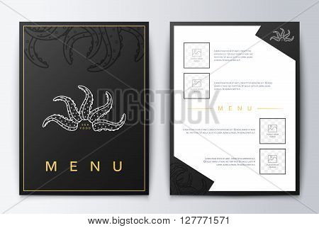 Design cover menu brochure culinary. Menu design. Menu background for restaurant or coffee. Restaurant menu, template design. Food flyer brochure. Sea restaurant menu design.
