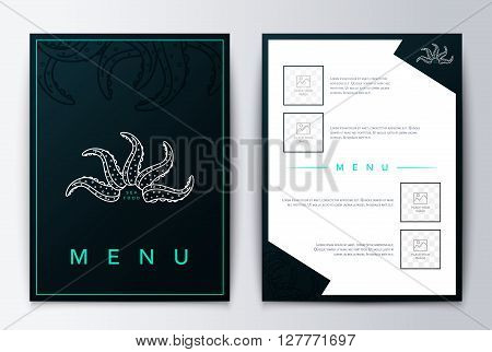 Design cover menu. Brochure culinary menu. Menu design. Sea menu design  background for restaurant or coffee. Restaurant menu, template design. Food flyer brochure.