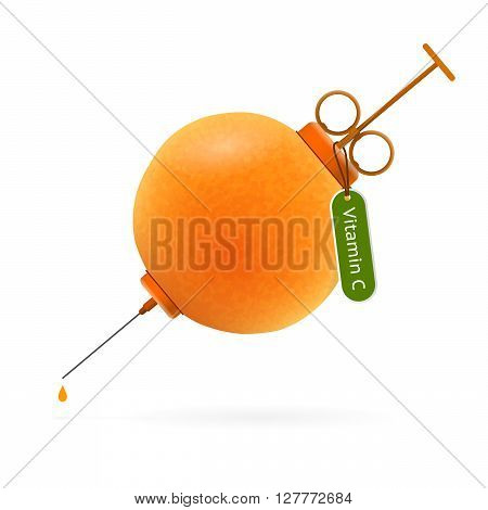 Syringe in the form of bright juicy orange with tag and text