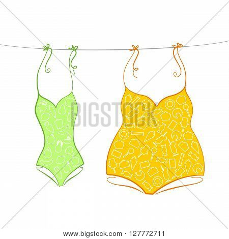 Thin swimsuit with pattern of fruits and vegetables and thick swimsuit with pattern of sweets