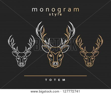 Monogram totem deer, set of monogrammed deers. Sketch of deer, elk. Wild animals. Emblem Christmas deer. Forest animals . Deer horns. The head of a deer .