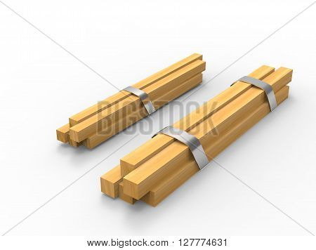 square logs with iron fasteners. 3d illustration on white background with shadow. simple to use. icon for game and web.