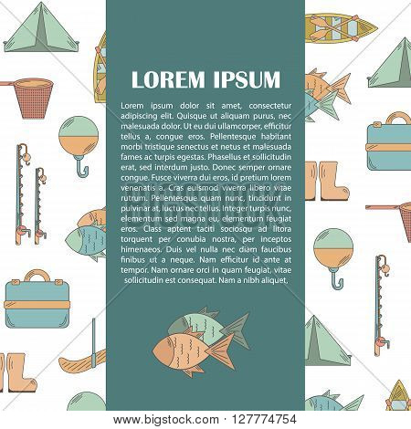 Vector illustration with fishing infographics. Line fishing equipment. Vector background for fishing infographics with textspace. Fishing card or poster. Outdoor hobby fishing infographics