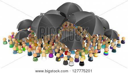 Crowd of small symbolic figures with black umbrellas 3d illustration horizontal