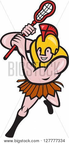 Illustration of a gladiator lacrosse player wearing spartan helmet holding lacrosse stick striking viewed from front set on isolated white background done in cartoon style.