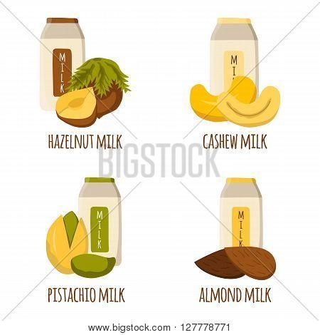 Vector cartoon illustration with nuts milk: almond milk pistachio milk cashew milk hazelnut milk. Lactose free diary products. Vegan source of protein and calcium. Vegan menu. Alternative for milk