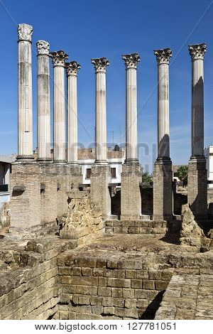 Foundations and columns of the Corinthian order roman temple in Cordoba Spain ** Note: Visible grain at 100%, best at smaller sizes
