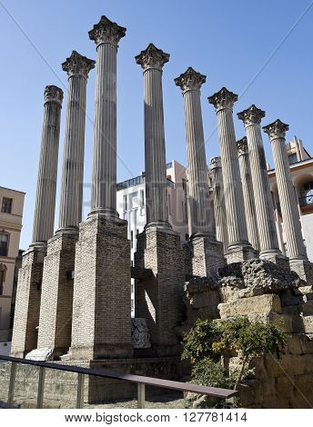 Foundations and columns of the Corinthian order roman temple in Cordoba Spain