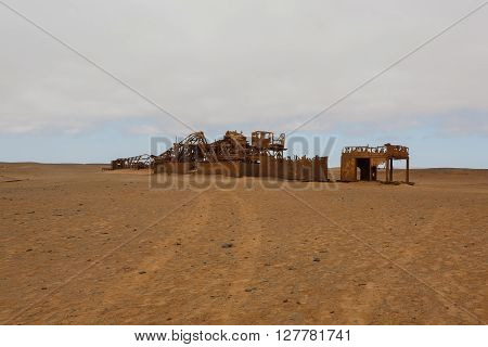 Old oil extraction station abandoned from Skeleton Coast Namibia