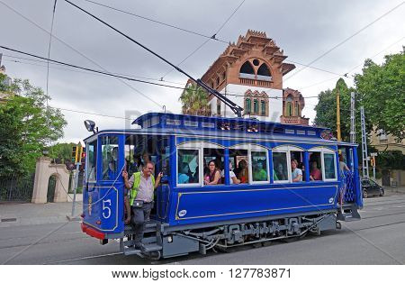 BARCELONA, SPAIN - AUGUST 1, 2015: Famous and one of the oldest in the world streetcar Tramvia Blau to Tibidabo hill in Barcelona, Spain