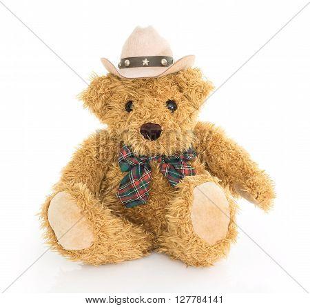 Cowboy Teddy Bear Sitting On White