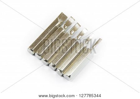 Closed up screwdriver heads set isolated on white background