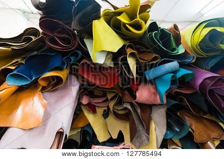 Colourful Genuine Cow Leather On Shelf In Shop Material