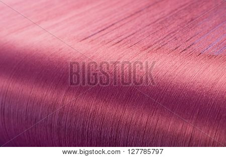Red Silk On A Warping Loom Of A Textile Mill