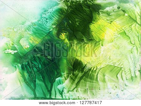 Abstract green and yellow watercolor background. Monotype effect. Colorful texture for your design.