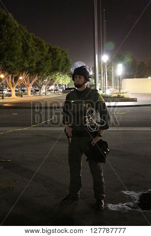 Costa Mesa, CA - April 28, 2016: Orange County Police do an excellent job of keeping the peace during the republican presidential candidate Donald Trump, at a rally at the Costa Mesa CA.