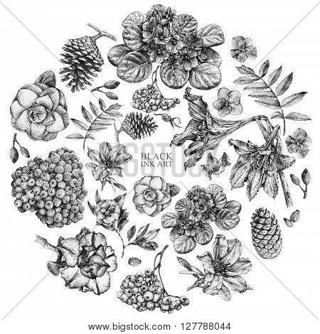Set of different spring flowers and plants drawn by hand with black ink. Graphic drawing pointillism technique. Place for text. Set of floral elements to create compositions