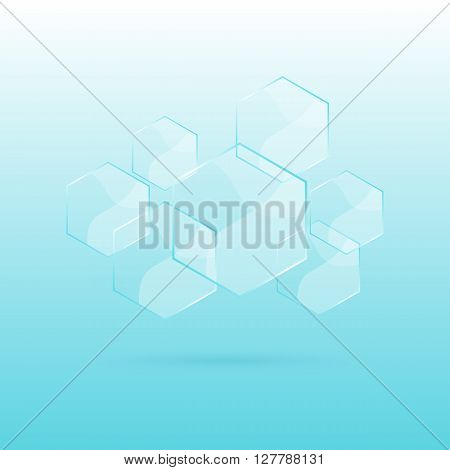 Hexagon transparent elements on blue background, stock vector