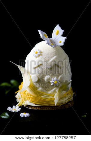 Easter egg.Elegance french mousse cake with velour coating as decoration on blackl background. Modern european cake.