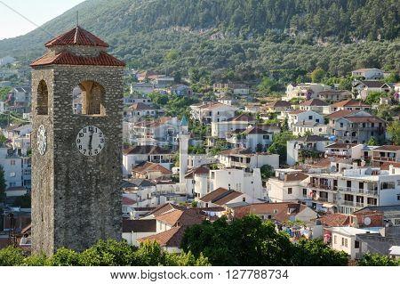 Ulcinj Clock Tower, village with minaret, Montenegro
