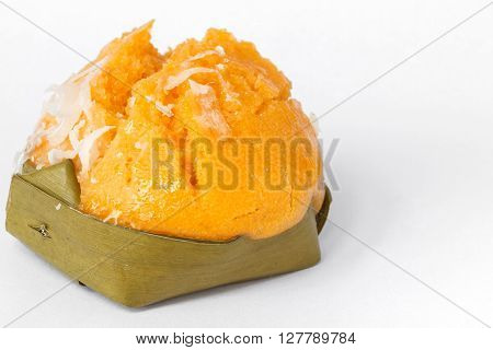Traditional dessert of Thailand on white background