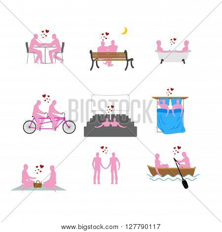 Lgbt Silhouettes Set. Pink People In Movie Theater. Lovers In Bath. Romantic Rendezvous Of Gay Peopl