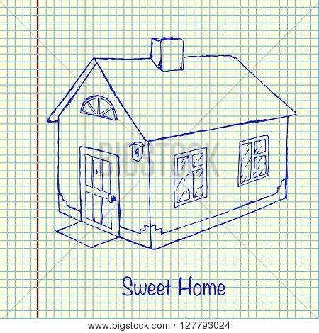 House vector stock illustration. Hand drawn on sheet