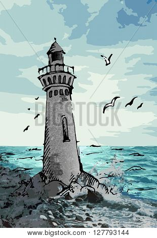 Lighthouse vector stock illustration. Hand drawn colorful illustration