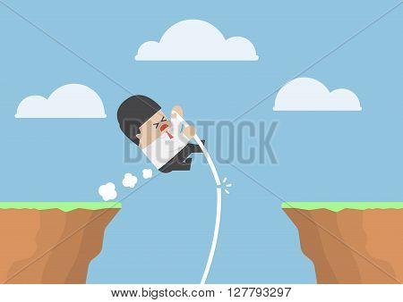 Businessman Pole Vault Across The Cliff But He Fail