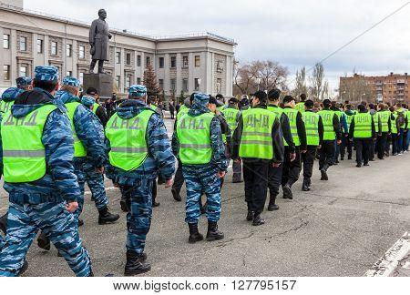 SAMARA RUSSIA - APRIL 24 2016: Platoon of russian helper police. Voluntary National Teams in uniform