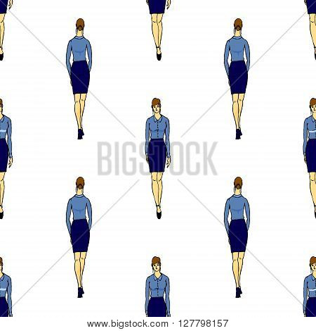 Full length of woman seamless background pattern. Hand drawn vector stock illustration