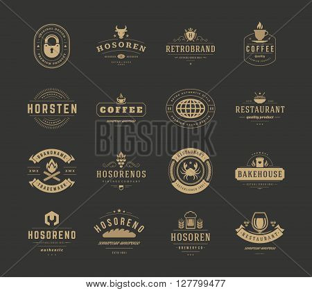 Vintage Logos Design Templates Set, Vector Design Elements. Logo Elements, Logo symbols, Logo Icons, Logos Vector, Symbols Design, Retro Logos. Cow Head Logo, Coffee Label, Ornaments Line, Lock Icon.