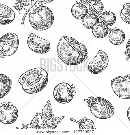 Seamless pattern with Tomato half and slice. Black and white color. Vintage vector hand drawn engraving illustration.
