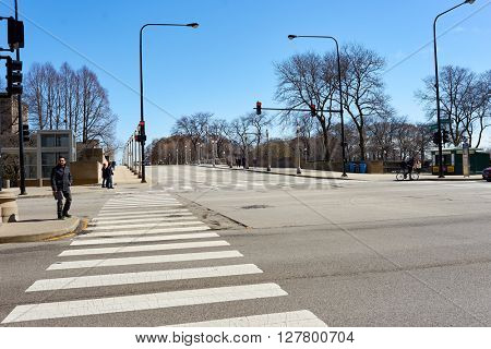 CHICAGO, IL - CIRCA MARCH, 2016: streets of Chicago at daytime. Chicago, colloquially known as the