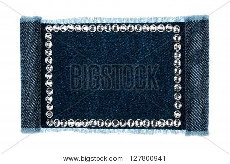 Denim frame folded in the form of manuscriptsscroll isolated on white background with space for your text