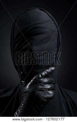 Black Art, A Man In A Black Suit, Tied Head, Loneliness, Depression