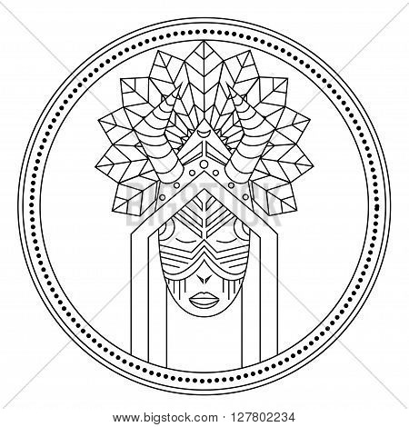Card with Shaman voodoo master feather, logo design in vector Shaman Illustration for design pattern textiles print on t-shirt cup canvas and other object, for logo sites. Tribal style, ethnic style