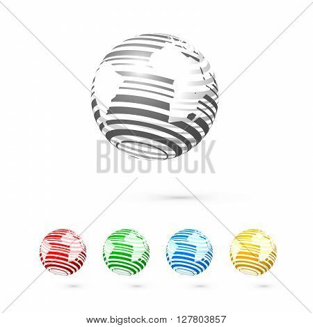 Set of globes. Globe logo business icon elements.  Vector globe icons. World map surface
