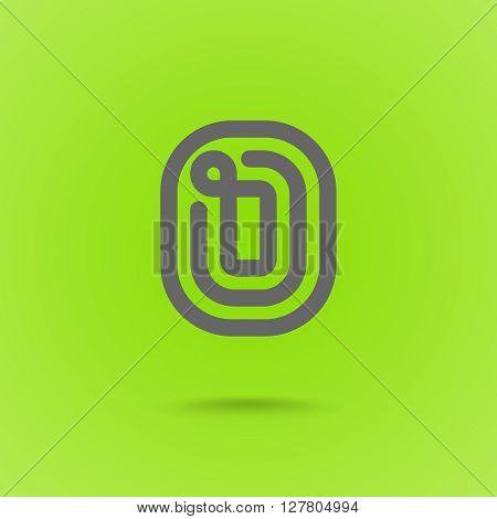 O Letter. O Line Logo Design Element Type. Letter O on Green Background