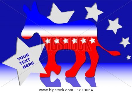 democratic donkey over a blue background with stars. poster