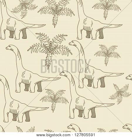 Brontosaurus seamless retro predator vector illustration. Black and white lines