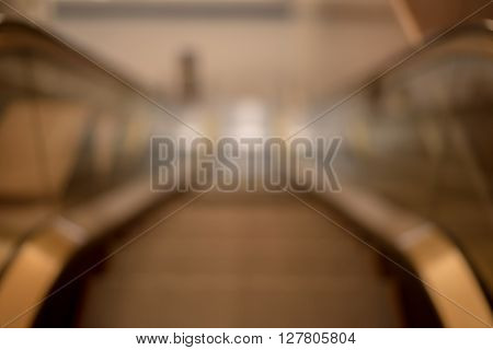 Blurred / Defocussed abstract background of escalator in a hotel taken in Japan
