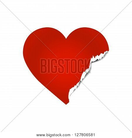 Vector image of torn heart. Damaged heart withe ripped edge. Broken heart concept.