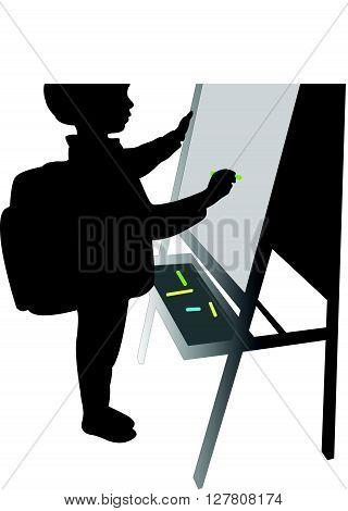 a school boy writing on board, silhouette vector