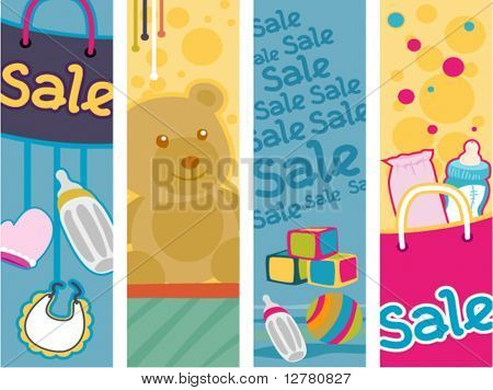 Baby Products Sale Vertical Banners - Vector