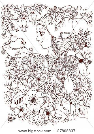 Vector illustration zentangl girl with freckles in flowers with an apple on his head. Child forest hedgehog on a leaf. Doodle drawing. Coloring book anti stress for adults. Brown and white.