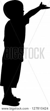 a beggar child black color silhouette vector